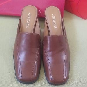 Aerosoles brown slip-on heels